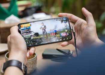 A person playing PUBG on phone
