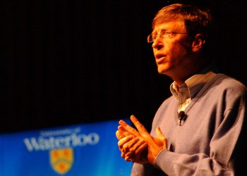 Bill Gates speaking at the University of Waterloo